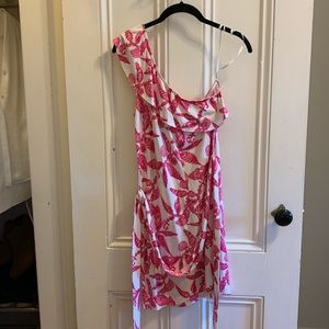 Lilly Pulitzer Pink Seashell One-Shoulder Dress
